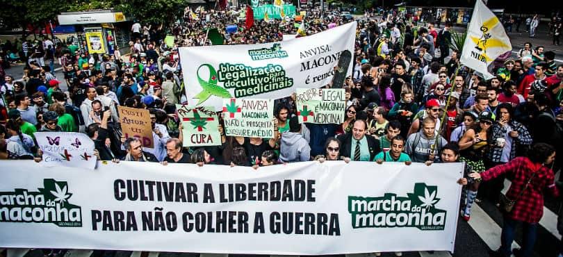 """""""Marcha da Maconha"""" in Sao Paulo, Brazil."""