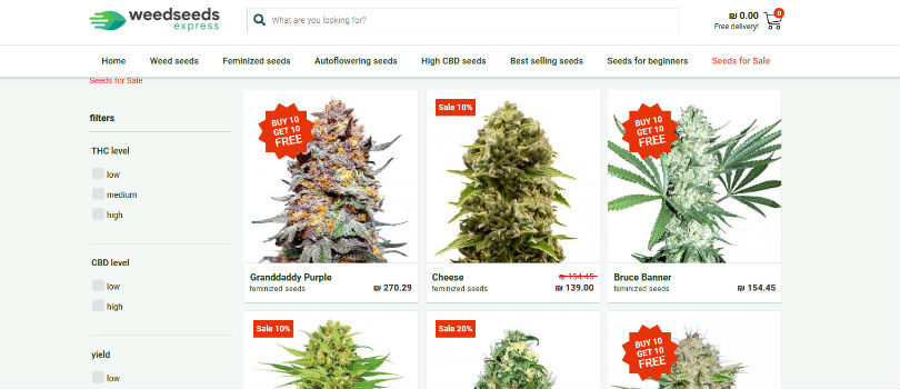 WeedSeedsExpress Sale Page